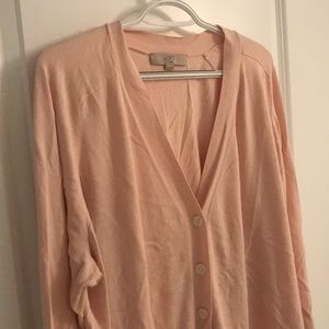 Blush colored 3/4 sleeve cardigan
